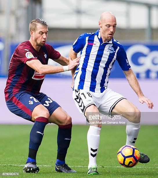 Florian Lejeune of SD Eibar duels for the ball with Gaizka Toquero of Deportivo Alaves during the La Liga match between SD Eibar and Deportivo Alaves...