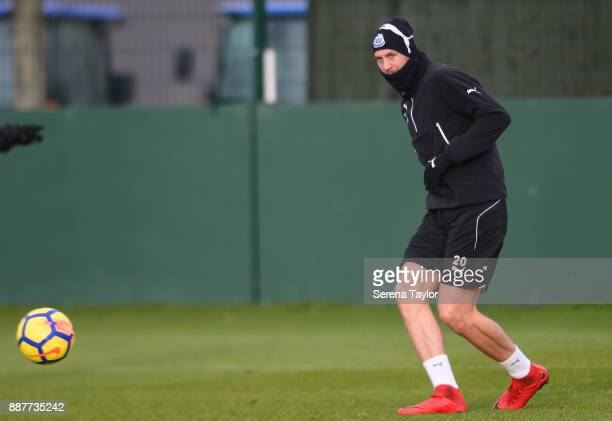 Florian Lejeune passes the ball during a Newcastle United training session at the Newcastle United Training Centre on December 7 in Newcastle upon...