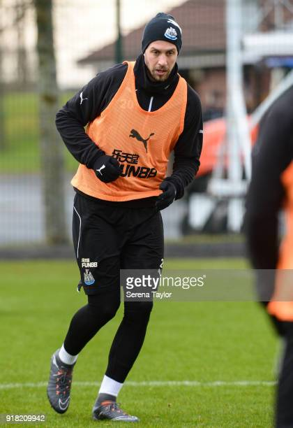 Florian Lejeune passes the ball during the Newcastle United Training session at The Newcastle United Training Centre on February 14 in Newcastle upon...