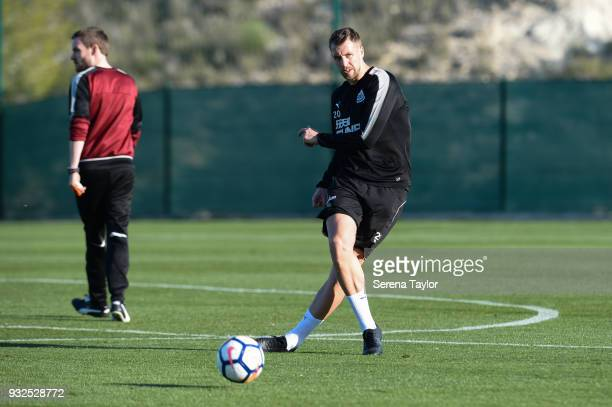 Florian Lejeune passes the ball during the Newcastle United Training Session at Hotel La Finca on March 15 in Alicante Spain