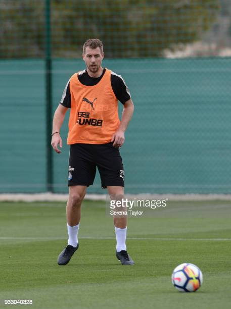 Florian Lejeune passes the ball during the Newcastle United Training Session at Hotel La Finca on March 17 in Alicante Spain