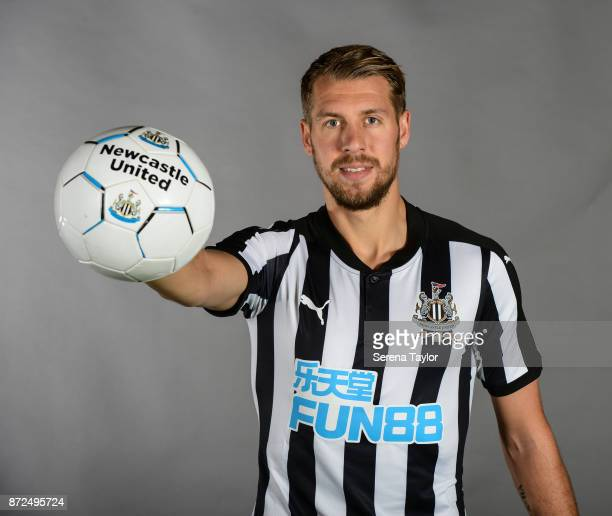 Florian Lejeune poses for photos during the Newcastle United First Team Photocall at The Newcastle United Training Centre on September 25 in...