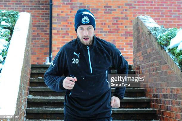 Florian Lejeune walks outside during the Newcastle United Training Session at the Newcastle United Training Centre on March 1 in Newcastle upon Tyne...