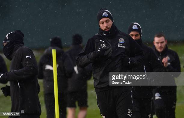 Florian Lejeune warms up during the Newcastle United training session at the Newcastle United Training Centre on December 1 in Newcastle upon Tyne...