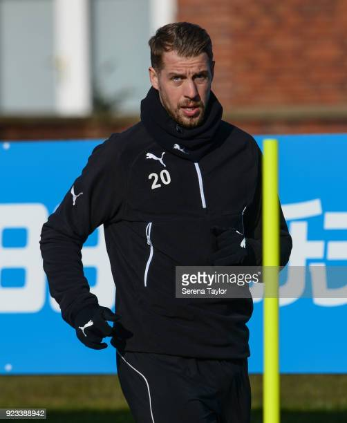 Florian Lejeune warms up during the Newcastle United Training session at the Newcastle United Training Centre on February 23 in Newcastle upon Tyne...