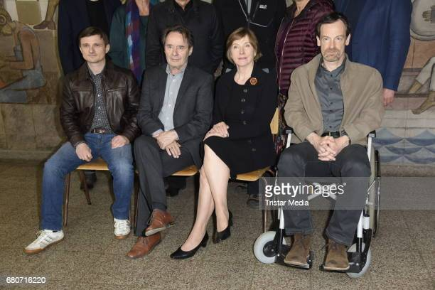 Florian Lukas Joerg Hartman Ruth Reinicke and Uwe Kockisch attend the photo call for the new season of the television show 'Weissensee' on May 9 2017...