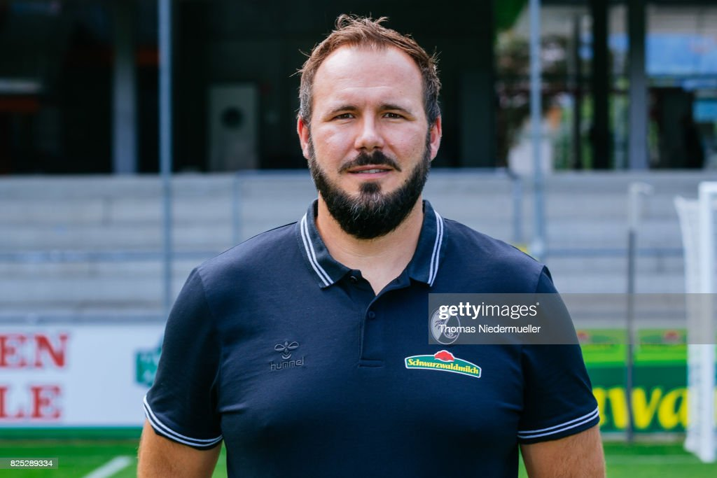 Florian Mack, physiotherapist of SC Freiburg poses during the team presentation at Schwarzwald-Stadion on August 1, 2017 in Freiburg im Breisgau, Germany.