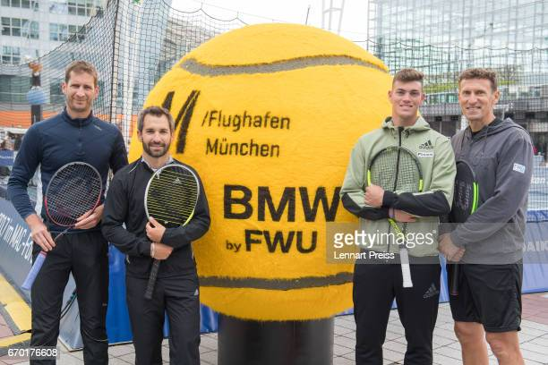 Florian Mayer DTM race driver Timo Glock Maximilian Marterer and Patrik Kuehnen tournament director BMW Open pose for a photo after the BMW Open Show...