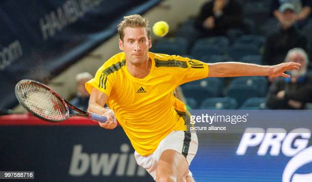 Florian Mayer from Germany in action against Schwartzman from Argentina in the men's singles at the Tennis ATPTour German Open in Hamburg Germany 28...
