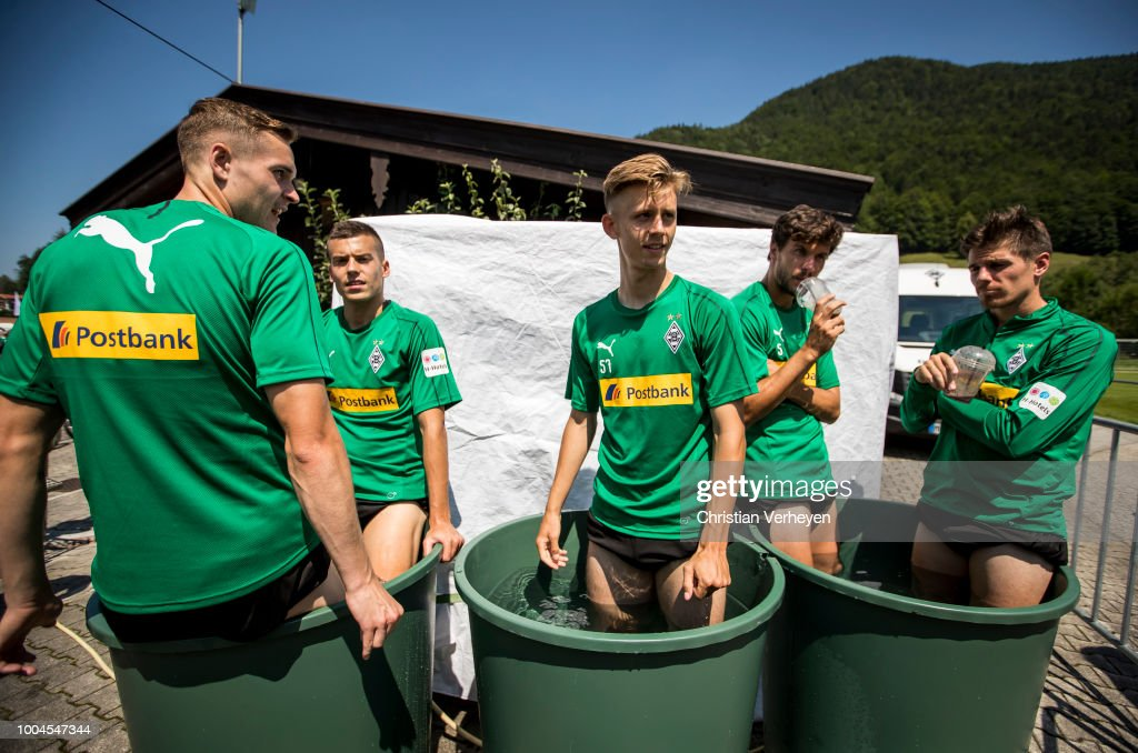 Florian Mayer, Laszlo Benes, Torben Muesel, Tobias Strobl and Jonas Hofmann cool down after a Training Session at Borussia Moenchengladbach Training Camp at Stadion am Birkenmoos on July 24, 2018 in Rottach-Egern, Germany.
