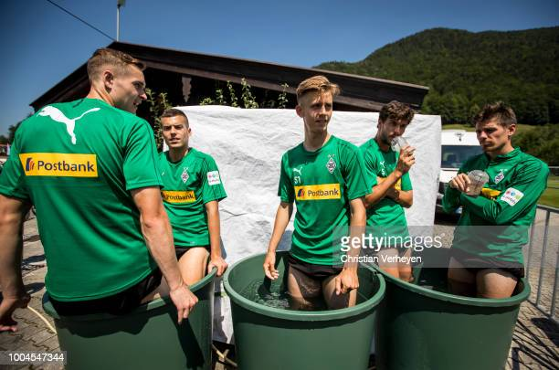 Florian Mayer Laszlo Benes Torben Muesel Tobias Strobl and Jonas Hofmann cool down after a Training Session at Borussia Moenchengladbach Training...