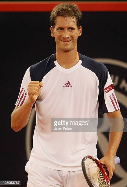 Florian Mayer of Germany celebrates during his Quarter Final match against Juan Carlos Ferrero of Spain during the International German Open at...