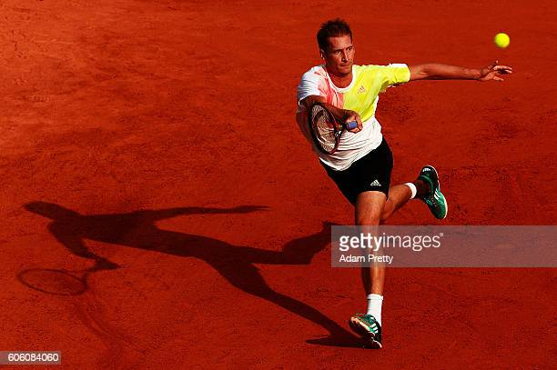 Florian Mayer of Germany hits a forehand during his match against Hubert Hurkacz of Poland during the 2nd rubber of the Davis Cup Playoff between...