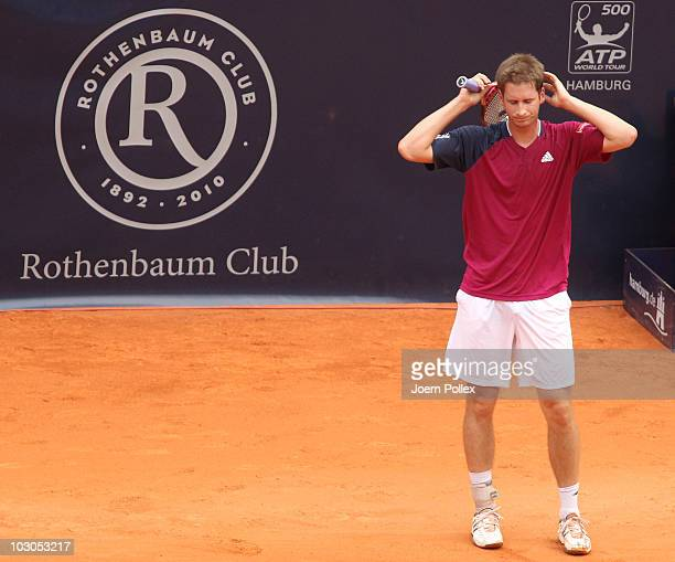 Florian Mayer of Germany is seen disappointed during his Quarter Final match against Juan Carlos Ferrero of Spain during the International German...