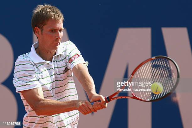 Florian Mayer of Germany plays a back hand during his quarterfinal match against Grigor Dimitrov of Bulgaria at BMW Open at the Iphitos tennis club...