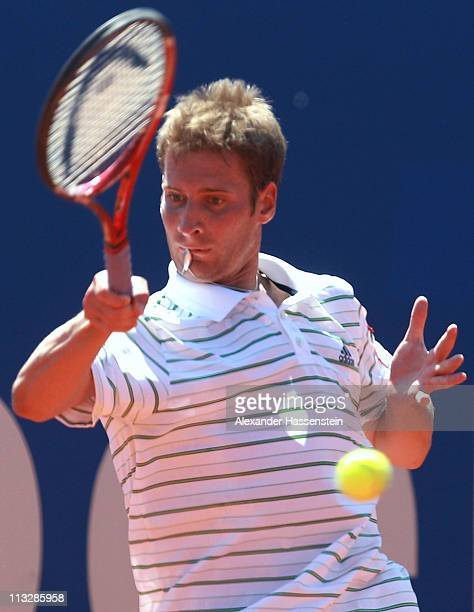 Florian Mayer of Germany plays a fore hand during his semi final match against Philipp Petzschner of Germany at BMW Open at the Iphitos tennis club...