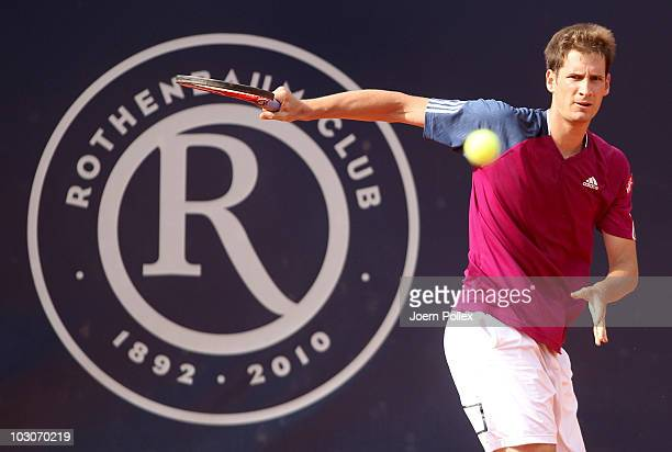 Florian Mayer of Germany returns a backhand during his Semi Final match against Andrey Golubev of Kazakhstan during the International German Open at...