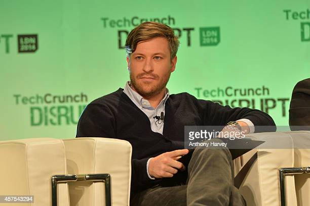 Florian Meissner CEO EyeEm on stage during the 2014 TechCrunch Disrupt Europe/London at The Old Billingsgate on October 20 2014 in London England