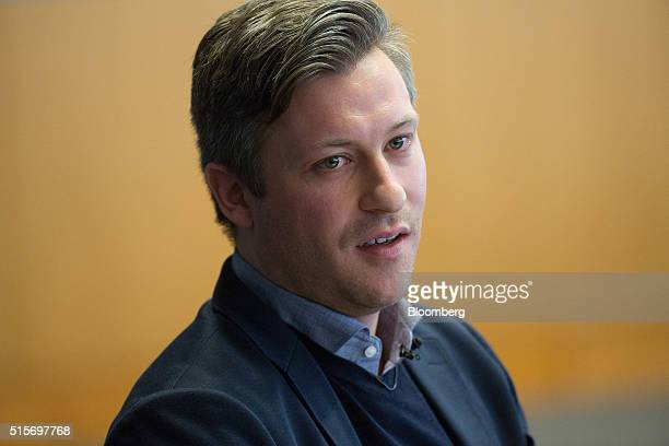 Florian Meissner chief executive officer of EyeEm Mobile GmbH speaks during the Goldman Sachs Disruptive Technology Symposium 2016 in London UK on...