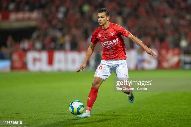September 21: Florian Miguel of Nimes in action during the Nimes V Toulouse, French Ligue 1, regular season match at Stade des Costières on September...