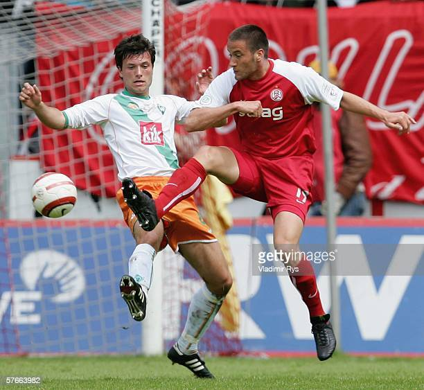 Florian Mohr of Bremen and Danko Boskovic of Essen battle for the ball during the Third League match between Rot Weiss Essen and Werder Bremen II at...