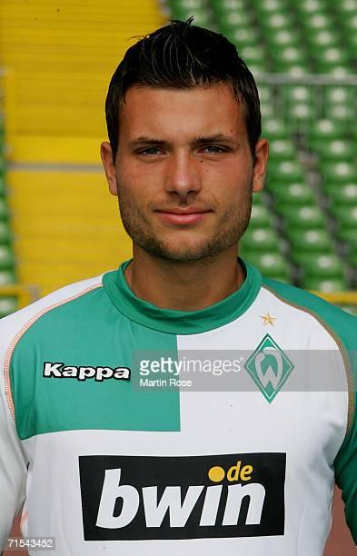 Florian Mohr poses during the Bundesliga 1st Team Presentation of SV Werder Bremen at the Weser Stadium on July 29 2006 in Bremen Germany