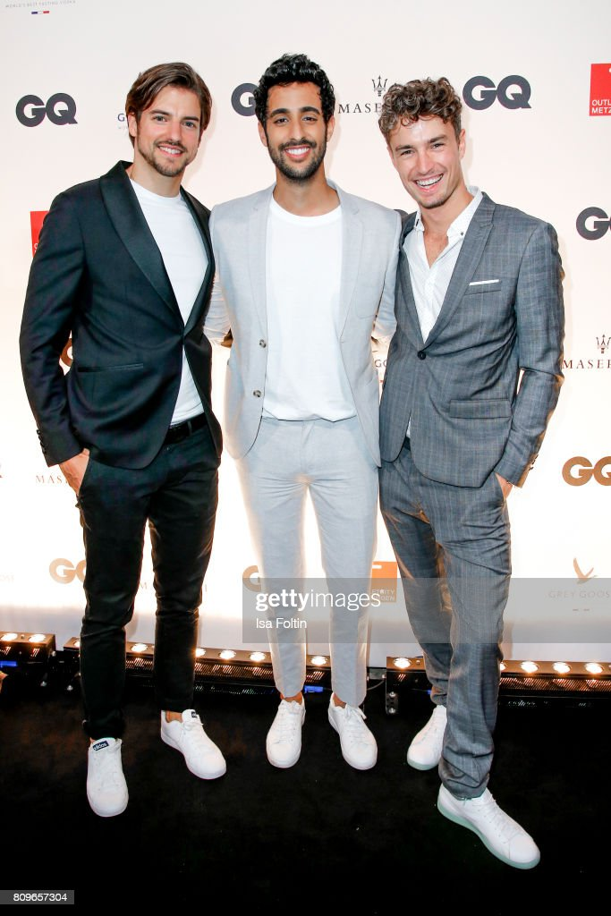 Florian Molzahn, Sami Slimani and Simon Lohmeyer attend the GQ Mension Style Party 2017 at Austernbank on July 5, 2017 in Berlin, Germany.