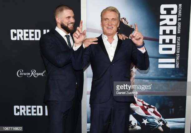 Florian Munteanu and Dolph Lundgren attend the 'Creed II' New York Premiere at AMC Loews Lincoln Square on November 14 2018 in New York City