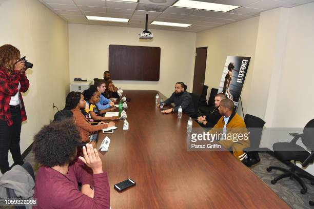 Florian Munteanu Steven Caple Jr and Michael B Jordan interview with student journalists from surrounding Atlanta metro university/college systems...