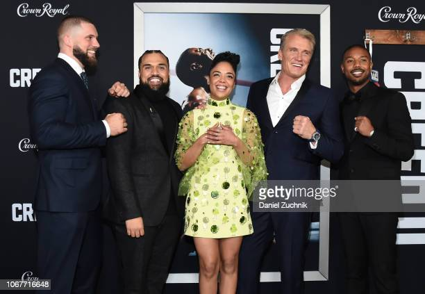 Florian Munteanu Steven Caple Jr Tessa Thompson Dolph Lundgren and Michael B Jordan attend the 'Creed II' New York Premiere at AMC Loews Lincoln...