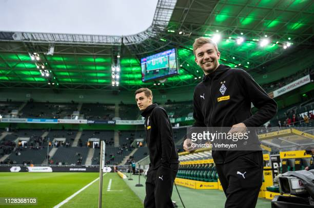 Florian Neuhaus and Christoph Kramer of Borussia Moenchengladbach are seen before the Bundesliga match between Borussia Moenchengladbach and FC...