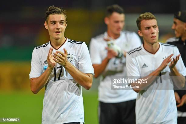Florian Neuhaus and Luca Waldschmidt of Germany applaud their supporters after winning the UEFA Euro 2019 Qualifier match between Germany U21 and...