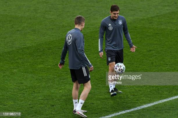 Florian Neuhaus during the official training of Germany's national soccer team before the World Cup qualifier in Romania, at National Arena Stadium,...