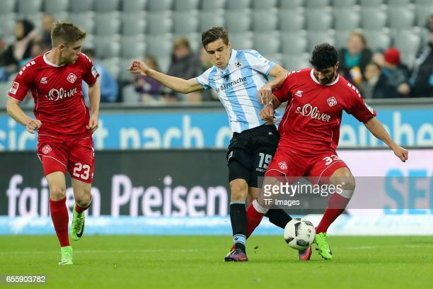 Florian Neuhaus of 1860 Munich und Elia Soriano of FC Wuerzburger Kickers battle for the ball during the Second Bundesliga match between TSV 1860...