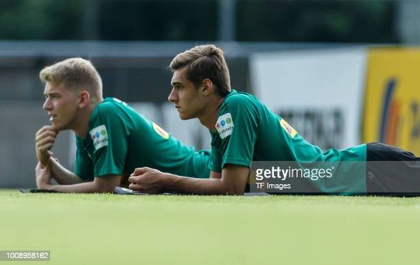 Florian Neuhaus of Borussia Moenchengladbach Andreas Poulsen of Borussia Moenchengladbach looks on during the Borussia Moenchengladbach training camp...