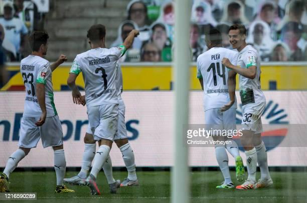 Florian Neuhaus of Borussia Moenchengladbach celebrate after he score his teams first goal during the Bundesliga match between Borussia...