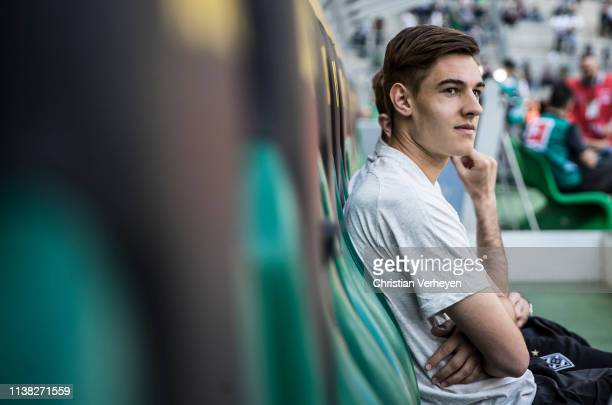 Florian Neuhaus of Borussia Moenchengladbach is seen ahead of the Bundesliga match between Borussia Moenchengladbach and RB Leipzig at BorussiaPark...
