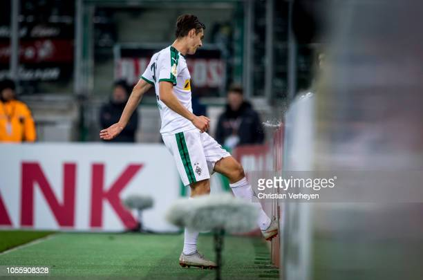 Florian Neuhaus of Borussia Moenchengladbach react after he missing a chance to score during the DFB Cup match between Borussia Moenchengladbach and...