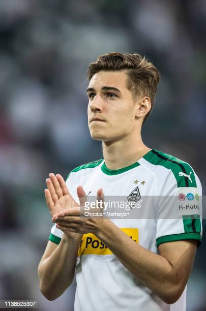 Florian Neuhaus of Borussia Moenchengladbach reacts after the Bundesliga match between Borussia Moenchengladbach and RB Leipzig at BorussiaPark on...