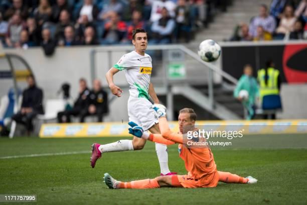 Florian Neuhaus of Borussia Moenchengladbach scores his teams third goal during the Bundesliga match between TSG 1899 Hoffenheim and Borussia...