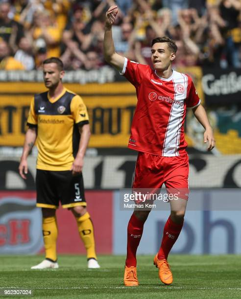 Florian Neuhaus of Duesseldorf jubilates after scoring the first goal during the Second Bundesliga match between SG Dynamo Dresden and Fortuna...