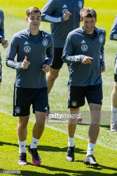 Florian Neuhaus of Germany and Thomas Mueller of Germany look on during Day 4 of the Germany Seefeld Training Camp on May 31, 2021 in Seefeld in...