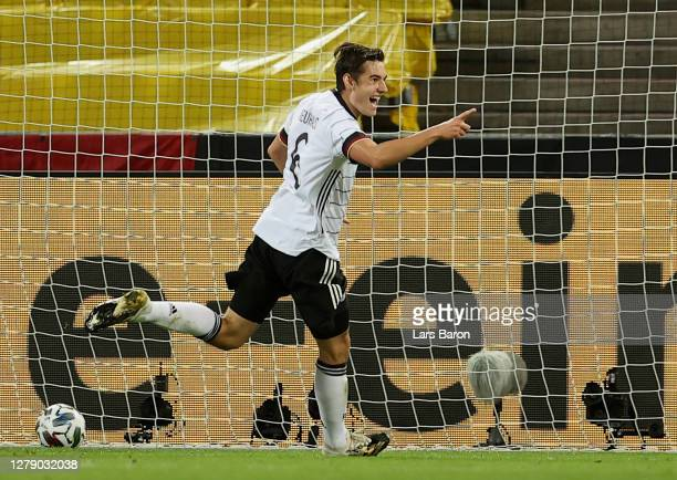 Florian Neuhaus of Germany celebrates after scoring his team's second goal during the international friendly match between Germany and Turkey at...