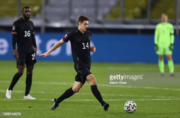 Florian Neuhaus of Germany makes a pass during the FIFA World Cup 2022 Qatar qualifying match between Germany and Iceland on March 25, 2021 in...