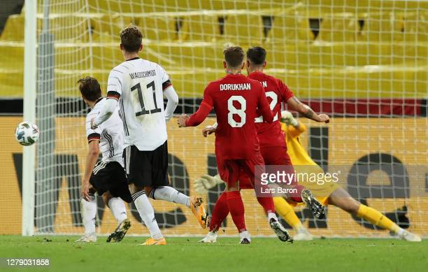 Florian Neuhaus of Germany scores his team's second goal during the international friendly match between Germany and Turkey at RheinEnergieStadion on...