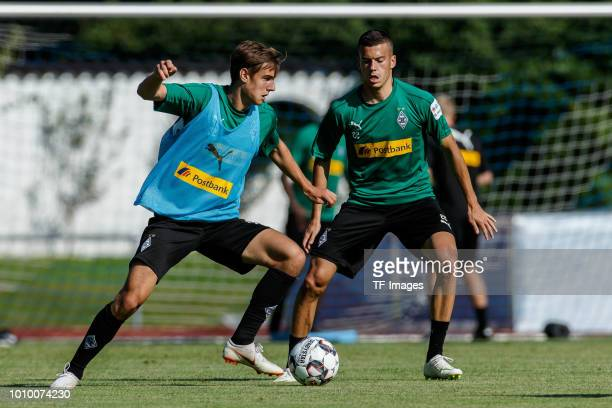 Florian Neuhaus of Moenchengladbach controls the ball during the Borussia Moenchengladbach training camp on July 24 2018 in RottachEgern Germany