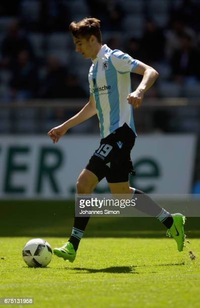 Florian Neuhaus of Muenchen in action during the Second Bundesliga match between TSV 1860 Muenchen and Eintracht Braunschweig at Allianz Arena on...