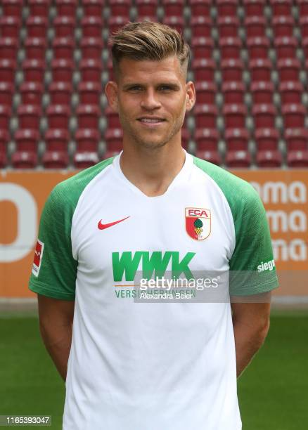 Florian Niederlechner of FC Augsburg poses during the team presentation at WWK-Arena on July 31, 2019 in Augsburg, Germany.