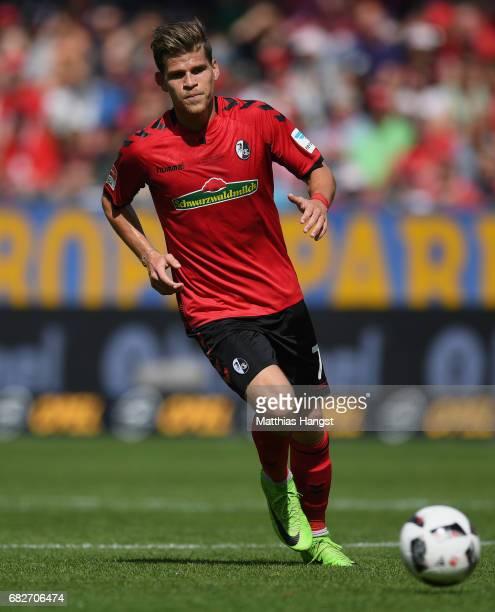 Florian Niederlechner of Freiburg controls the ball during the Bundesliga match between SC Freiburg and FC Ingolstadt 04 at SchwarzwaldStadion on May...