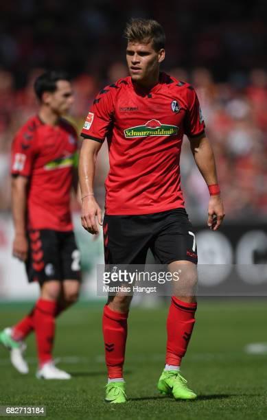 Florian Niederlechner of Freiburg in action during the Bundesliga match between SC Freiburg and FC Ingolstadt 04 at SchwarzwaldStadion on May 13 2017...
